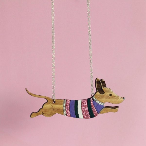 Sausage dog wooden necklace - Sterling silver chain