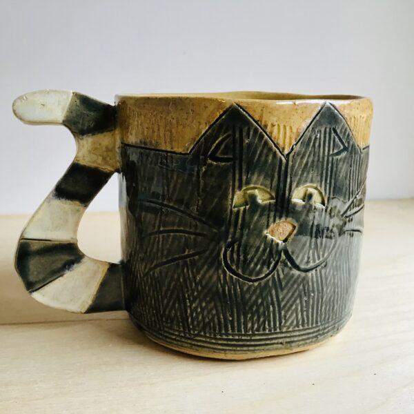 Karin findell ceramics cat mug