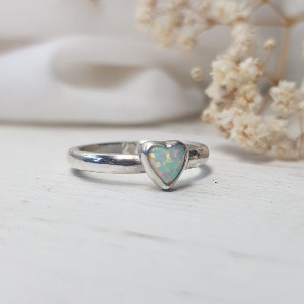 opal heart ring