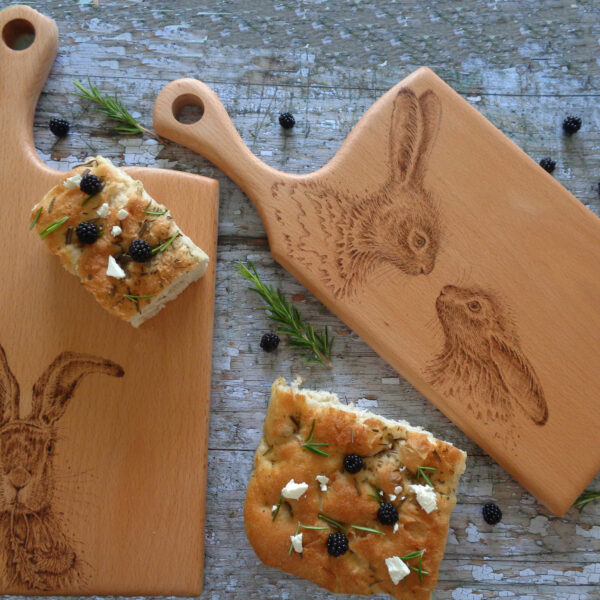 West Country Designs, Hare and the Dandelion and Two Little Hares Hand-Decorated Beech Chopping Boards