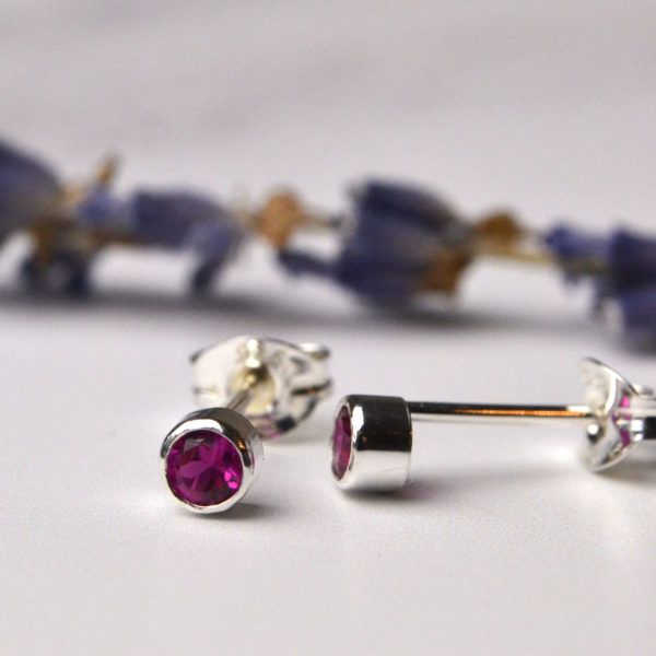 teeny gemstone earrings