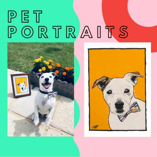 Sarah Downes Design pet portrait of jack Russell wearing a colourful bow tie photo of the Jack Russell day along side the painting