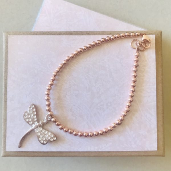 Enigma Jewellery Sterling Silver, Rose Gold Plated Dragonfly Bracelet