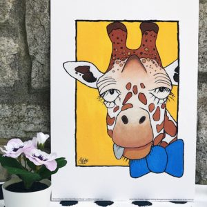 Sarah Downes Design Fine Art Giclee print of Giraffe Wearing a blue bow tie on a yellow background