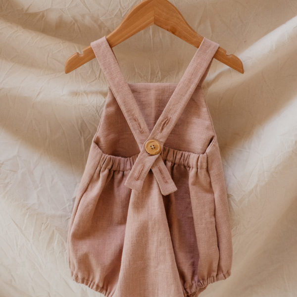 Little Dottie Designs, Handmade Childrenswear. Pixie Romper in Dusky Clay Pink Linen.