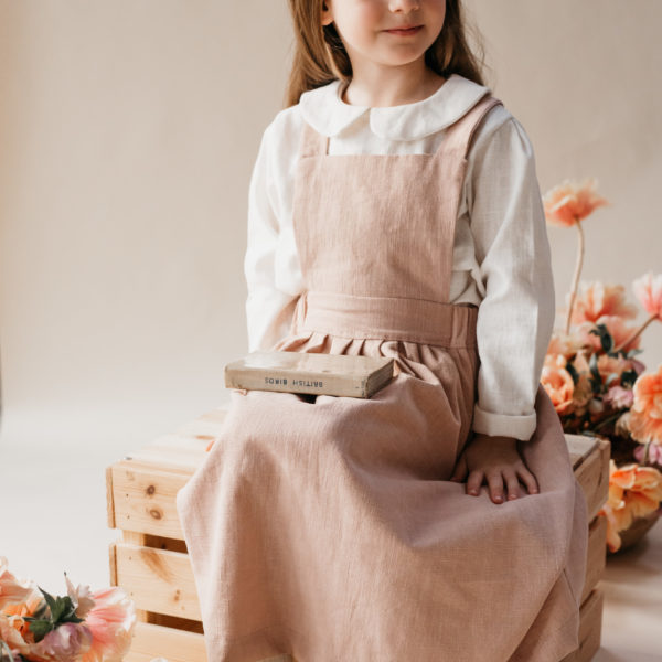 Little Dottie Designs, Handmade Childrenswear, Beautiful Ava Blouse in Oyster Linen, Peter Pan Collar Blouse and Girls Penny Pinafore in Dusky Clay Pink Linen.