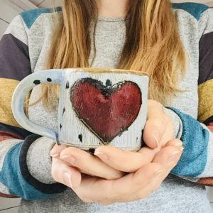 Karin findell ceramics, heart mug in blue with black spots folksy.com/shop/karinfindellceramics
