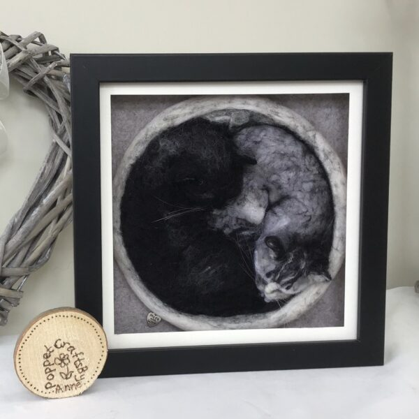Needle felted sleeping cats portrait