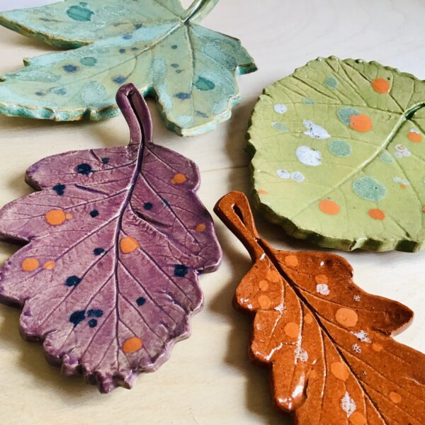 Karin findell ceramics autumn leaf dishes