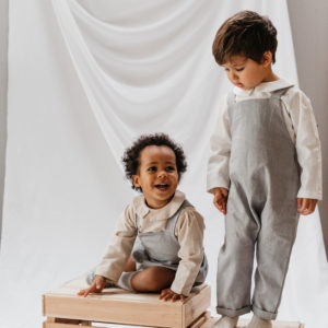 Little Dottie Designs, Handmade Childrenswear, Unisex Linen Children's Outfits. Flint Grey Linen Romper and Flint Grey Linen Otto Dunagree.