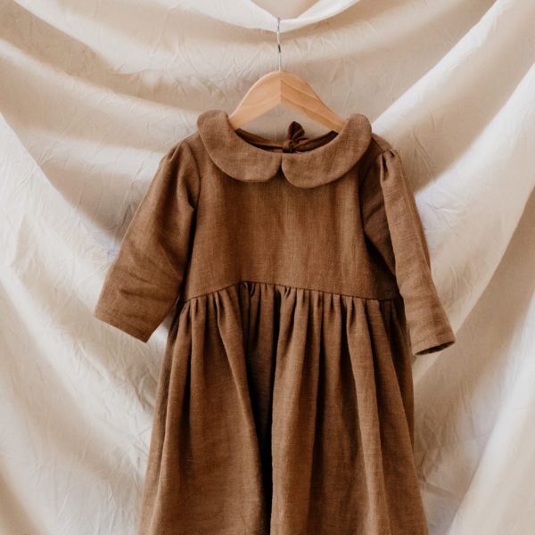 xLittle Dottie Designs, Handmade Childrenswear, Beautiful Ava Blouse in Oyster Linen, Peter Pan Collar Blouse and Girls Peter Pan Collar, Ophelia Dress in Rust Ochre Linen.