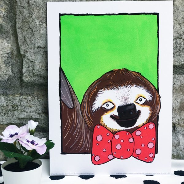Sarah Downes Design Fine Art Giclee print of Sloth In red spotty bow tie and green background