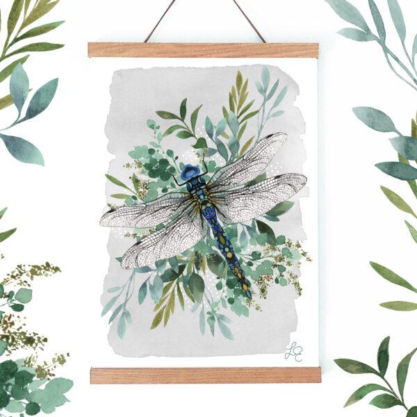 Laura Elizabeth Illustrations, 'Botanical Drogonfly' Fine Art Print for the wall