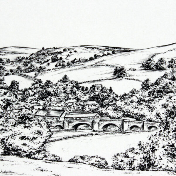 Pencil Drawing of Burnsall in North Yorkshire by Carbon Art