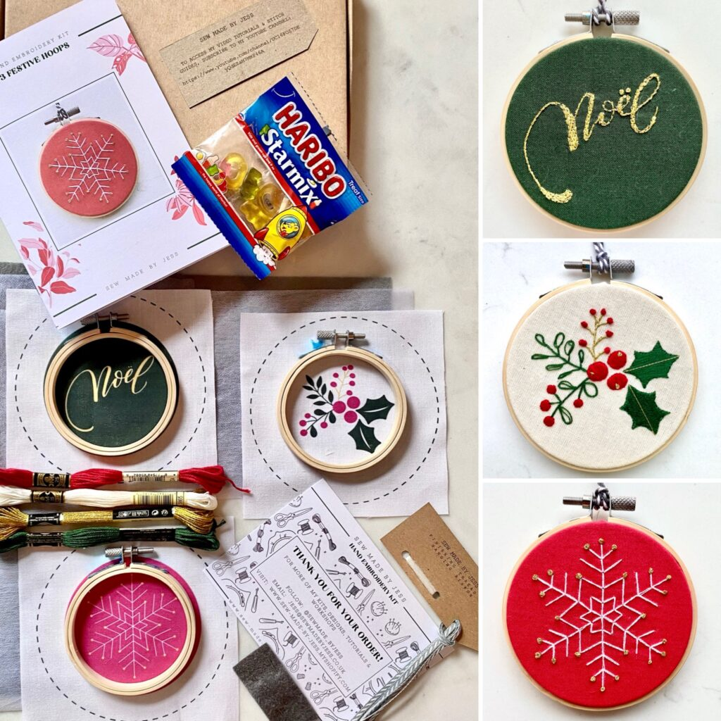 Christmas Embroidery Kit - Sew Made By Jess - 3 Festive Hoops