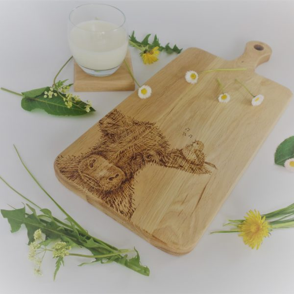 West Country Designs, Cow & Friend Design, Hand-decorated Oak Chopping Board