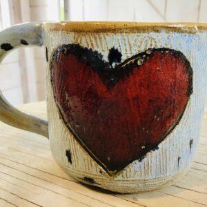 Heart mug Karin findell ceramics folksy.com