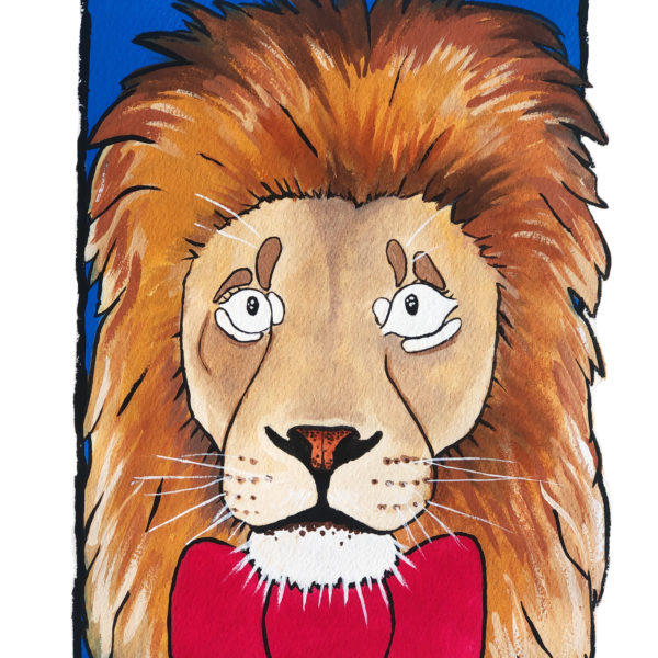 Sarah Downes Design Fine Art Giclee print of lion in red bow tie and blue background