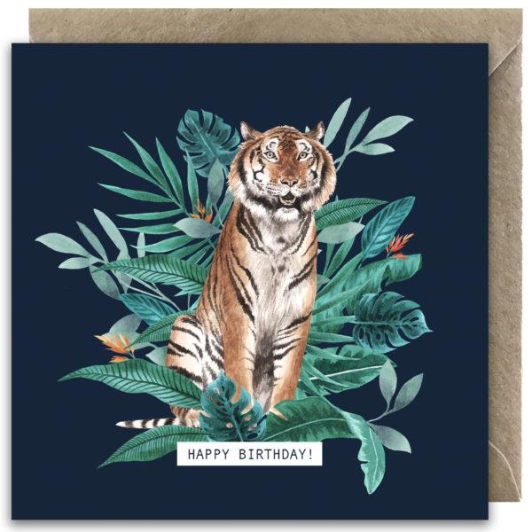 Laura Elizabeth Illustrations, Happy Birthday Tiger Greeting Card with craft envelope