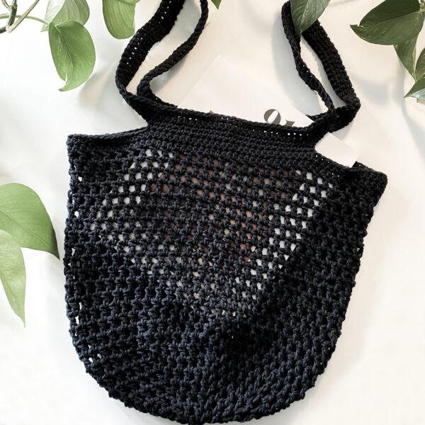 Handmade, Crochet, Boho Market Tote Bag, Black