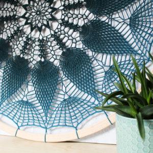 Pineapple Fibre Art teal crochet wall art