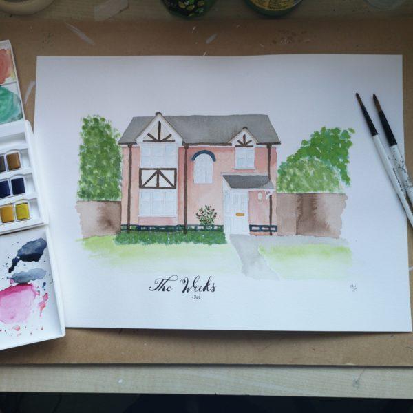 DotK Design, Commission Watercolour House Home Portrait