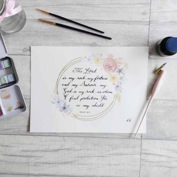 DotK Design, Watercolour Floral Scripture Art