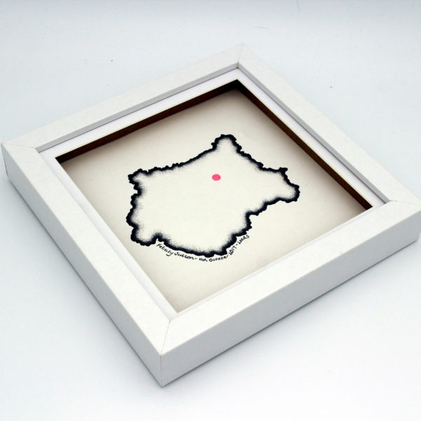 Hand drawn custom map of West Yorkshire for a baby by Carbon Art