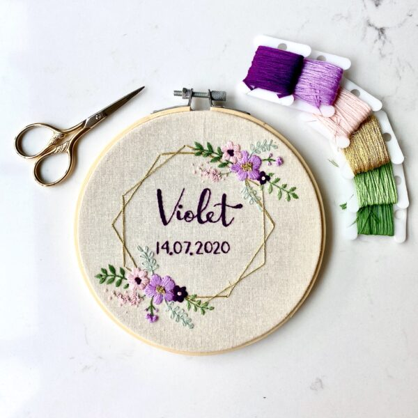 Name and Date Embroidery Hoop