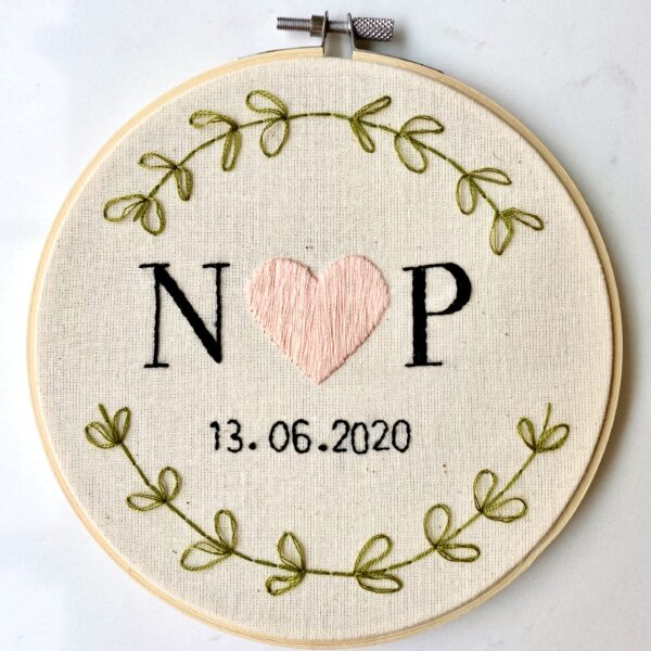 Bespoke Initials and Date Embroidery Hoop