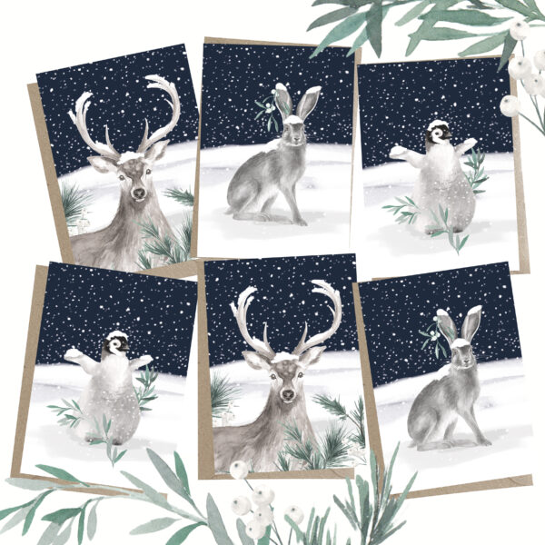 Christmas Animals 6 Pack Greeting Cards with craft envelopes