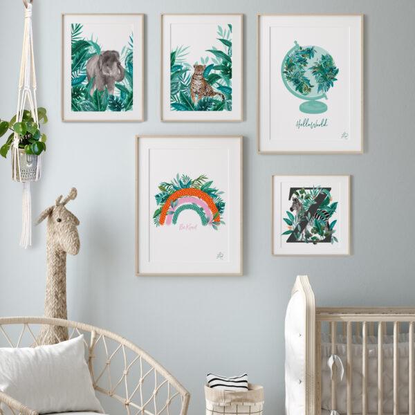 Nursery Gallery Wall with Botanical Animal Artwork