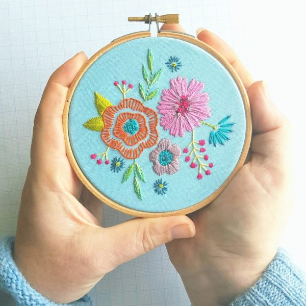 Leah-Halliday-floral-posy-blue-Fabric-Printed-Embroidery-Pattern-4-inch-hoop