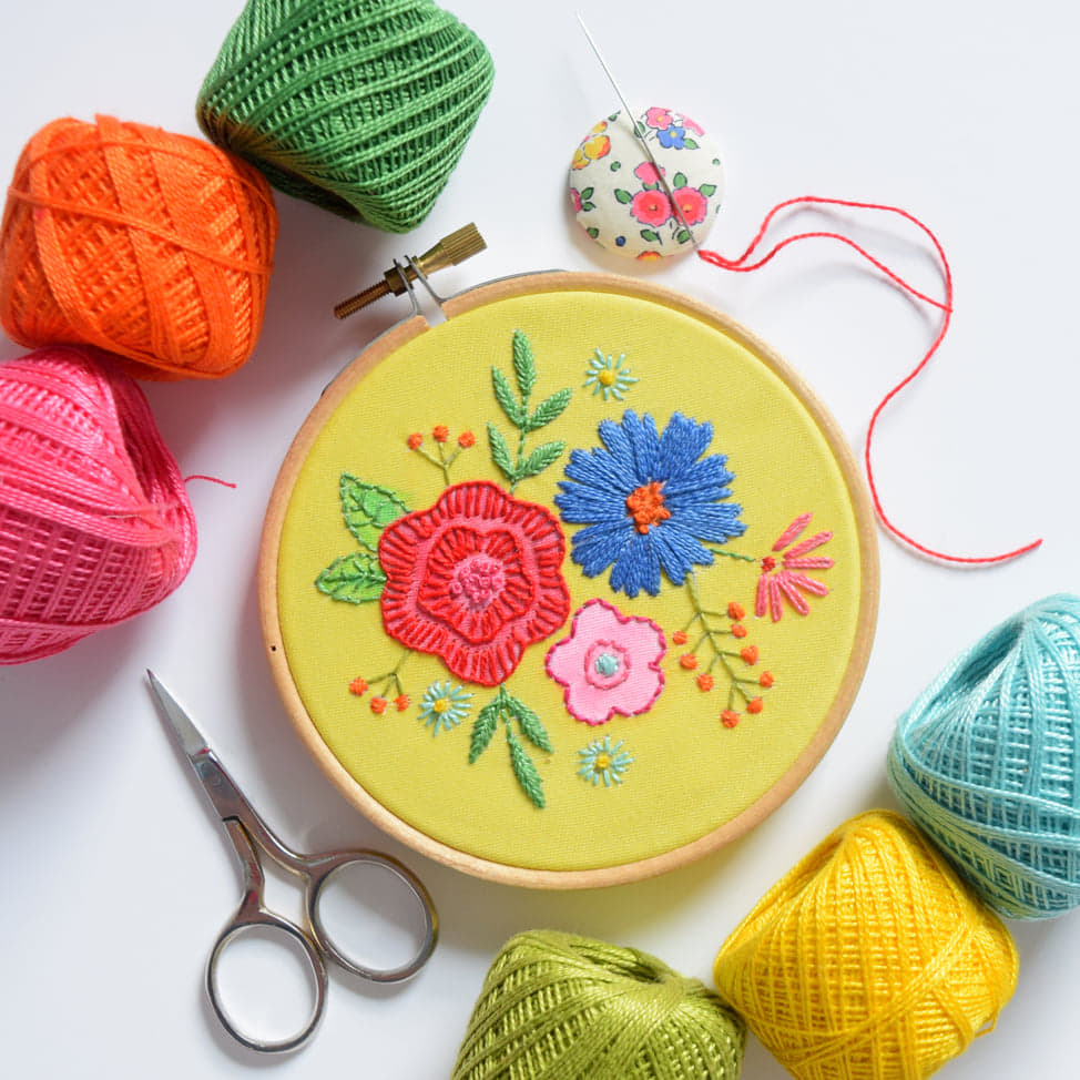 Leah-Halliday-embroidery-pattern-floral-posy-yellow-Fabric-Printed-Embroidery-Pattern-4-inch-hoop (2)