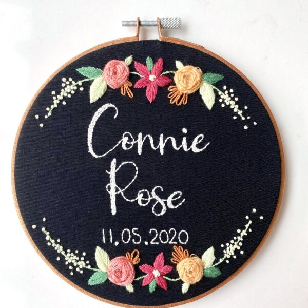 Bespoke Name and Date Embroidery Hoop