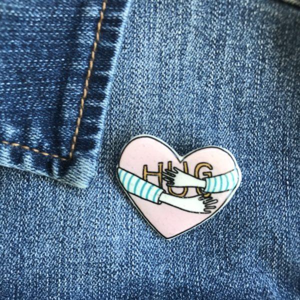 Sister Sister, Hand made Hug Heart Pin