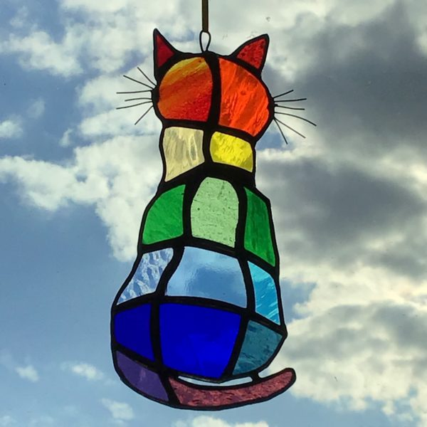 Sarah Davis Glass Rainbow Cat stained glass hanging multicolour on ribbon