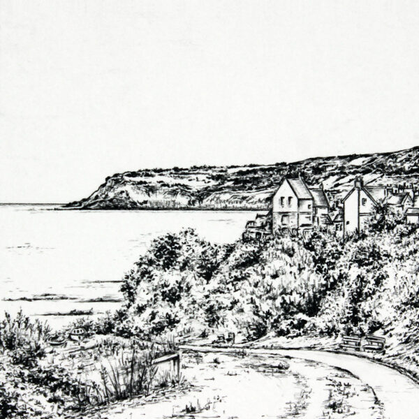 Pencil Drawing of Robin Hood's Bay in North Yorkshire by Carbon Art