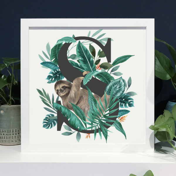 Laura Elizabeth Illustrations, S for Sloth Fine Art Print in a white frame