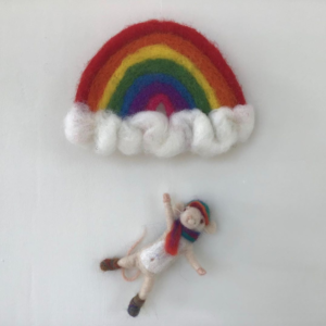 Poppet crafts by Anne, Rainbow and mouse goal keeper