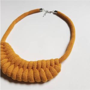 Norio Knots, Mustard woven necklace. Pedddle