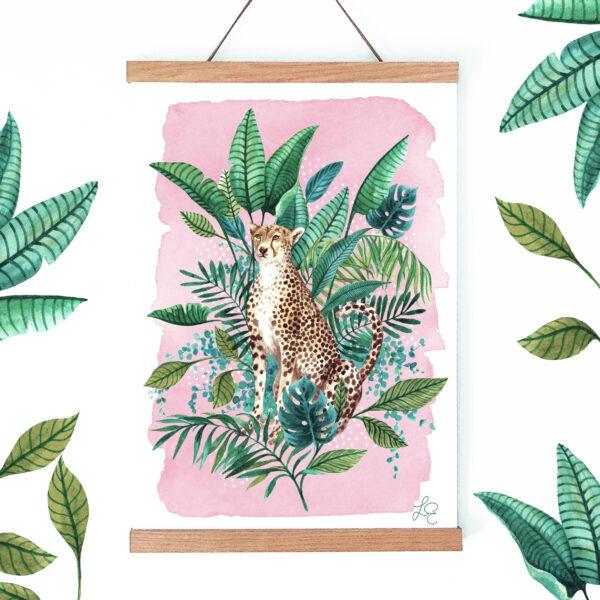 Laura Elizabeth Illustrations, 'Tropical Cheetah' Fine Art Print for the wall