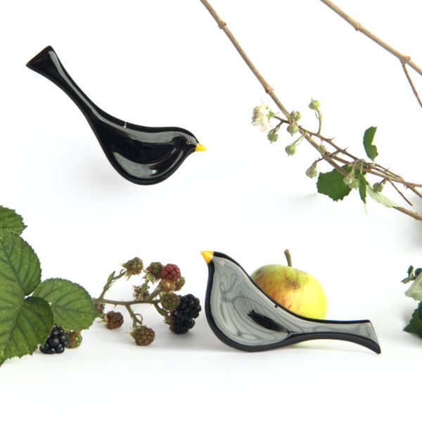 robyn coetzee glass designs, two blackbirds amongst fruit, one hanging and one on the ground,