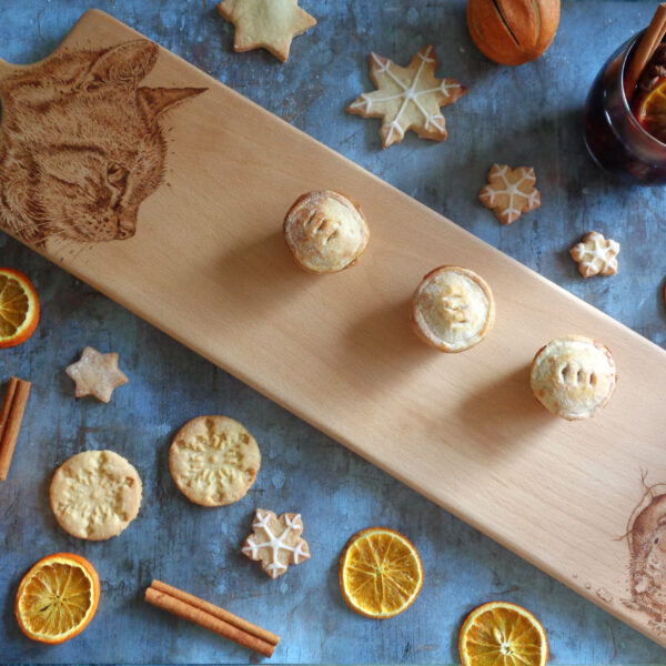 West Country Designs, Cat and Mice Pies Design Hand-decorated and Handmade Platter in Beech Wood