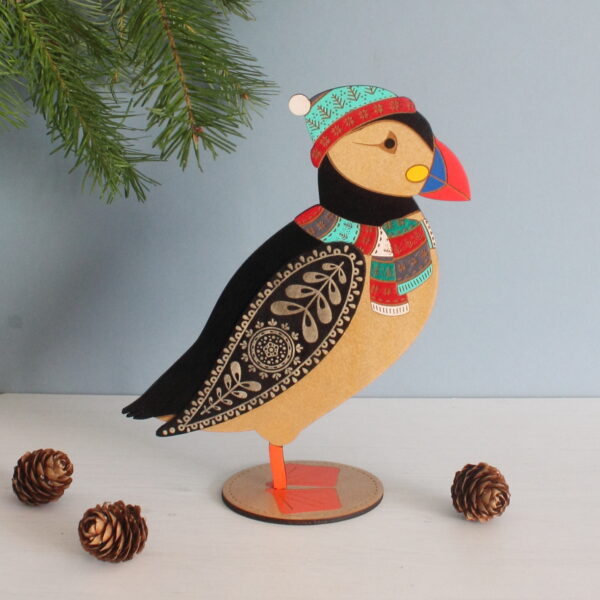 christmas puffin wooden standing bird etchablelaserdesign