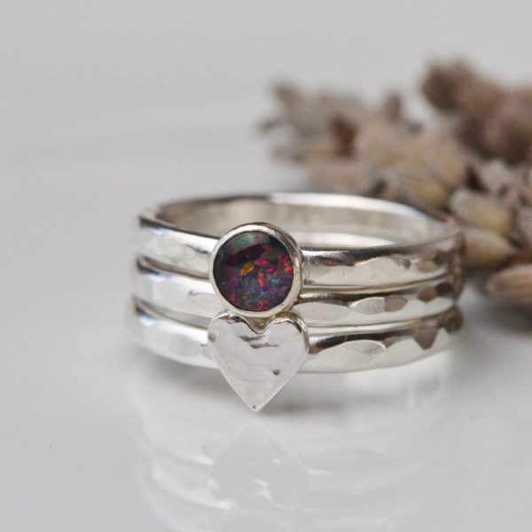 silver heart, and opal stacking ring set