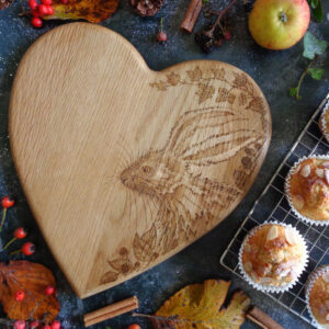 West Country Design, Hand-Decorated Autumn Hare Heart-Shaped Oak Chopping Board