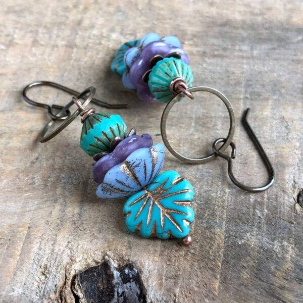 Colorful Czech Glass Leaf Earrings. Maple Leaf Earrings. Purple & Turquoise Stacked Earrings