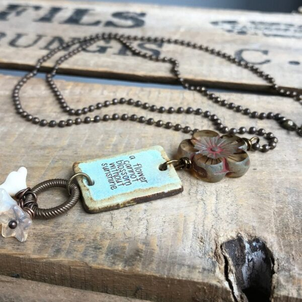 Artisan Ceramic Quote Necklace. One of a Kind Pottery Pendant. Brass Layering Jewelry