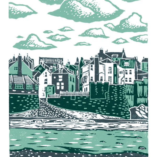 Robin Hood's Bay A3 poster-print (dark blue & teal)